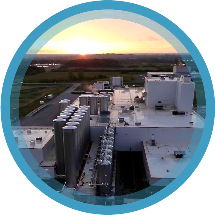 A skytop view of Cayuga Milk Ingredients during sunrise